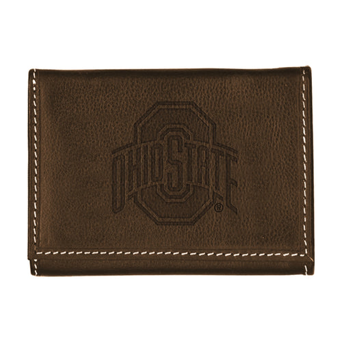 Ohio State University Contrast Stitch Trifold Leather Wallet