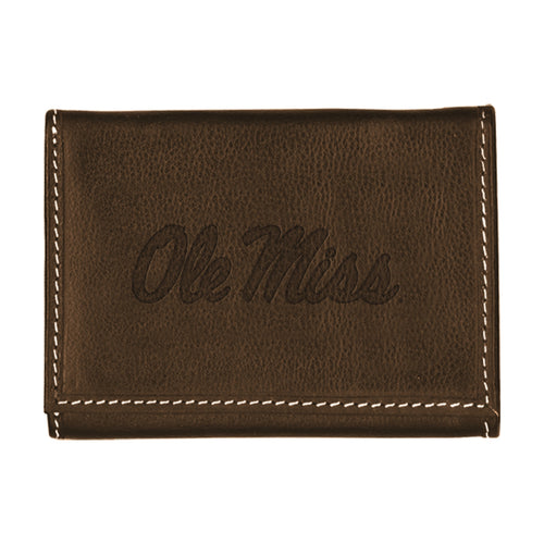 University of Mississippi Contrast Stitch Trifold Leather Wallet