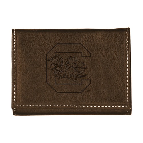 University of South Carolina Contrast Stitch Trifold Leather Wallet