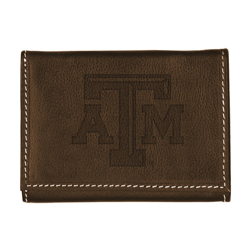 Texas A&M University Contrast Stitch Trifold Leather Wallet