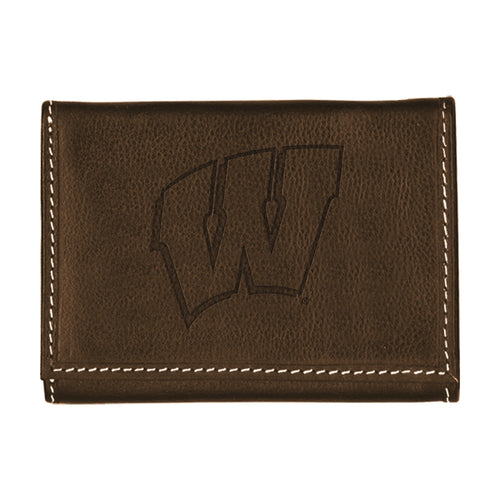University of Wisconsin Contrast Stitch Trifold Leather Wallet