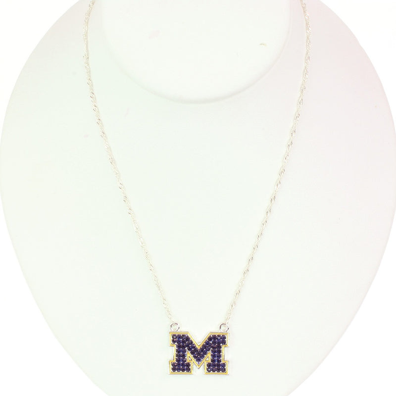 University of Michigan Crystal Logo Necklace