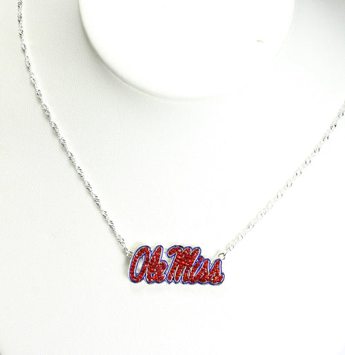 University of Mississippi Crystal Logo Necklace