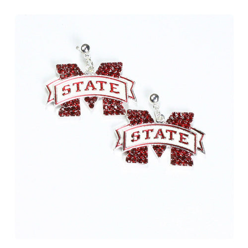 Mississippi State University Crystal Dangle Earrings