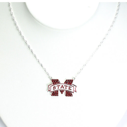Mississippi State University Crystal Logo Necklace