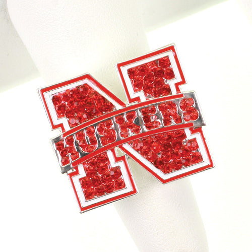 University of Nebraska Crystal Logo Stretch Ring