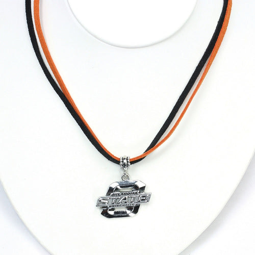 Oklahoma State University Double Suede Cord Necklace