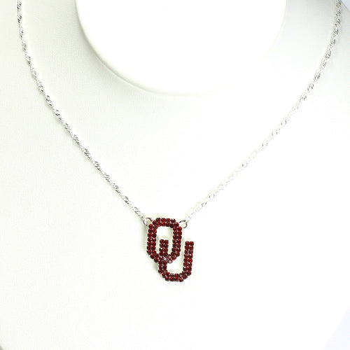 University of Oklahoma Crystal Logo Necklace
