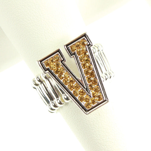 Vanderbilt University Crystal Logo Stretch Ring