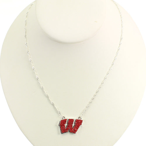 University of Wisconsin Crystal Logo Necklace