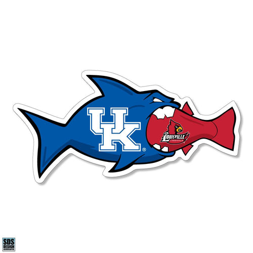 "University of Kentucky vs University of Louisville Rivalfish Vinyl Decal (3"")"