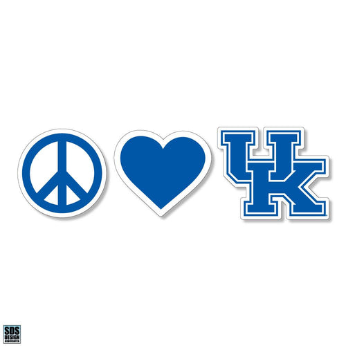 "University of Kentucky Peace, Love, UK Dizzler Decal (2"")"