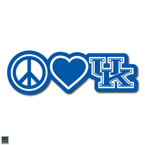 "University of Kentucky Peace Love UK Vinyl Decal (6"")"