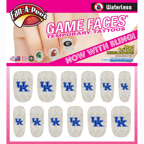 University of Kentucky Glitter Fingernail Tattoos
