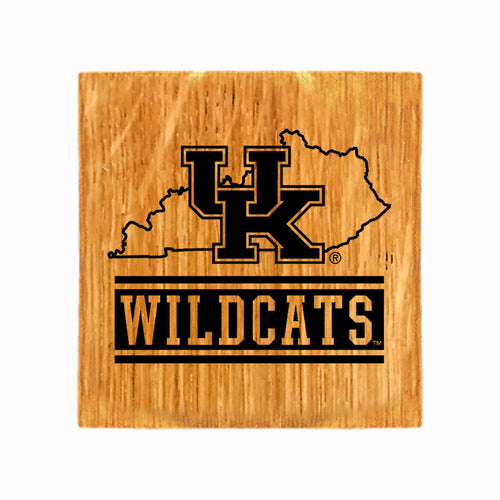 "University of Kentucky ""State"" Wooden Etched Coaster Set"