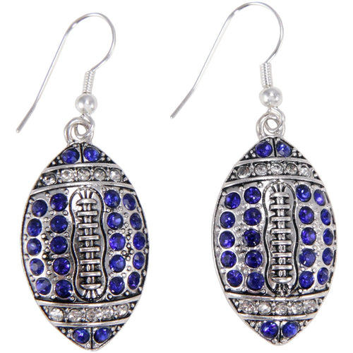Kentucky Blue Crystal Football Earrings