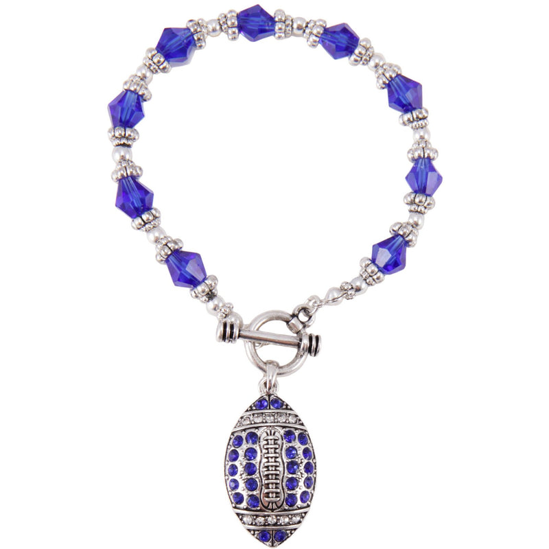 Kentucky Blue Crystal Football Toggle Bracelet