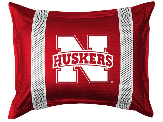 University of Nebraska Pillow Sham with Jersey Mesh