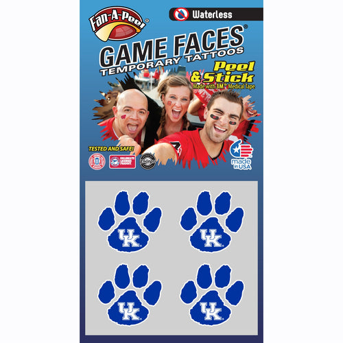 University of Kentucky Paw Print Waterless Temporary Tattoos