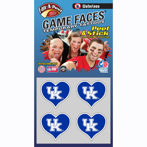 University of Kentucky Waterless Heart Temporary Tattoos