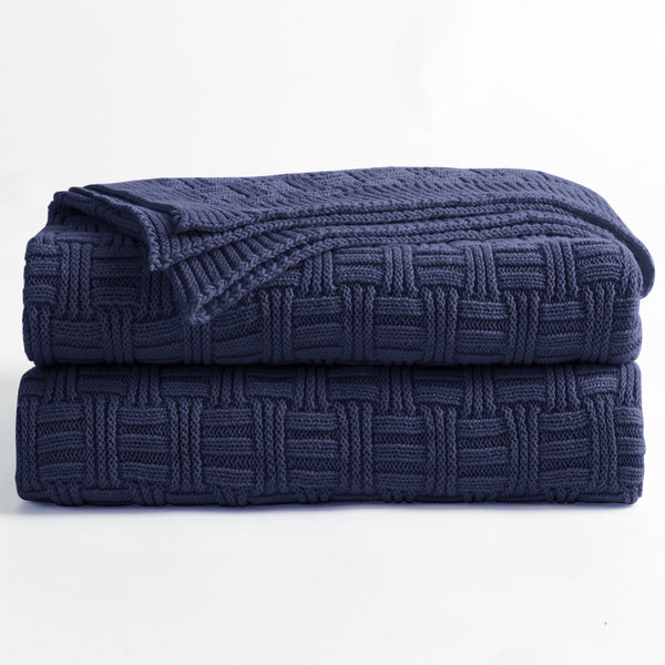 100% Cotton Navy Blue Cable Knit Throw Blanket for Couch Sofa Bed with Bonus Laundering Bag – Large 60 x 80 Thick, 3.4 LB, Dark Navy, Machine Washable, Comfortable Home Décor