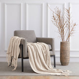 "Longhui bedding Fringe Knit Cotton Throw Blanket, 50"" x 63"" Decorative Knitted Cover with 6"" Tassels, Bonus Laundry Bag – 3.12lb Weight, Cream"