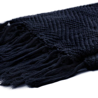 "Fringe Knit Cotton Throw Blanket, 50"" x 63"" Decorative Knitted Cover with 6"" Tassels, Bonus Laundry Bag – 3.12lb Weight, Navy blue"