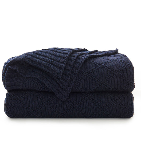 Longhui bedding Navy Cotton Knit Throw Blanket for Couch Sofa Bed - Home Decorative Soft Cozy Sweater Woven Fall Cable Oversize Knitted Blankets - 3.4 pounds 60 x 80 Inch