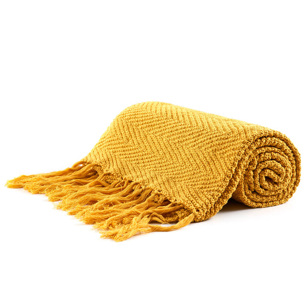 "Longhui bedding Fringe Knit Cotton Throw Blanket, 50"" x 63"" Decorative Knitted Cover with 6"" Tassels, Bonus Laundry Bag - 3.12lb Weight, Mustard Yellow"