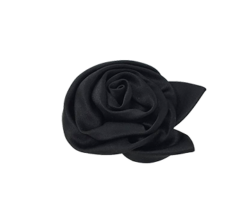 Black Satin Rosetta Brooch