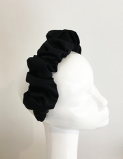 Black Satin Ruched Headband