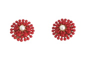 Dahlia Flower Clip On Earrings