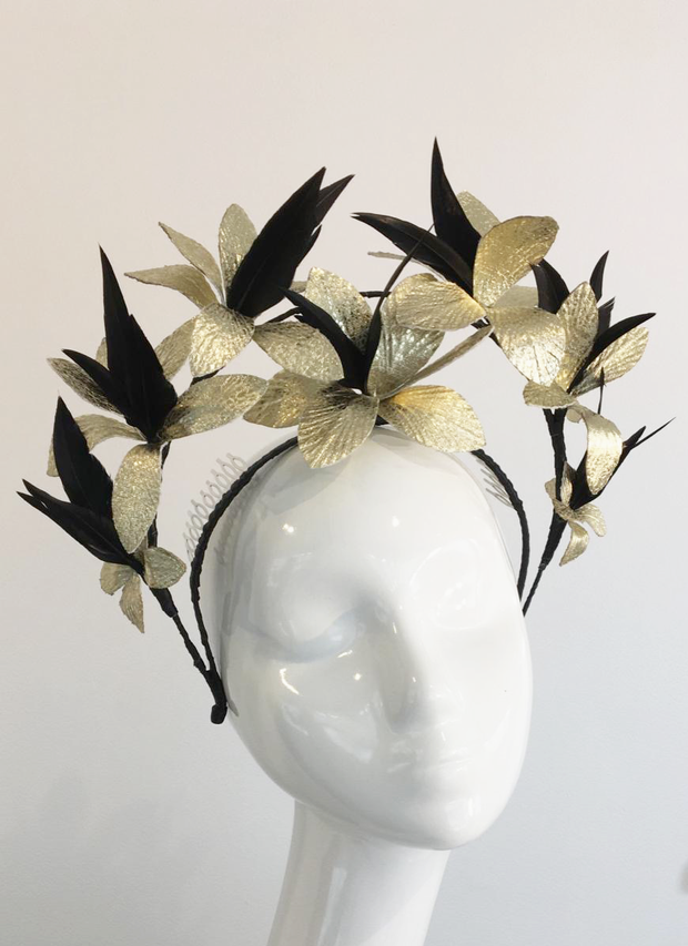 Estelle - Gold Leaf and Black Feather Crown