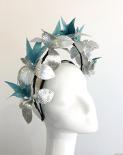 Estelle - Silver Leaf and Blue Feather Crown