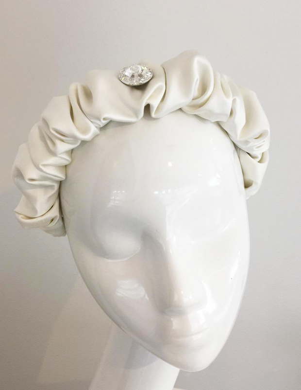 Ivory Satin Ruched Headband with Swarovski Crystal