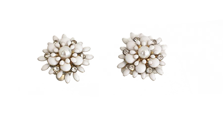 Jasmine Flower Clip On Earrings