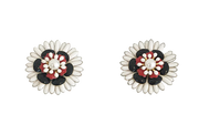 Poppy Flower Clip Ons Earrings