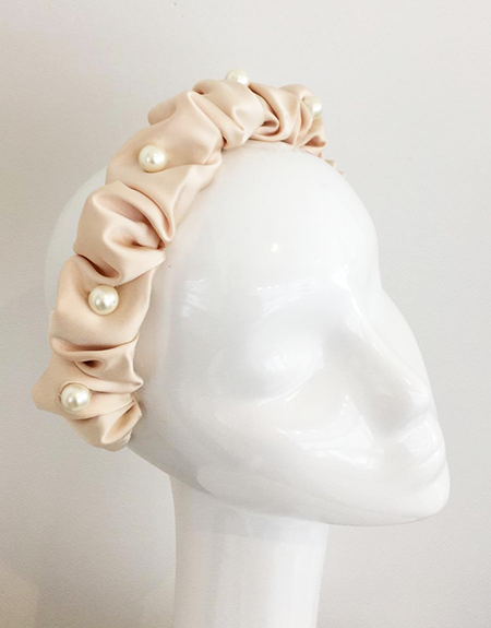 Satin ruched Headband in Peach colour