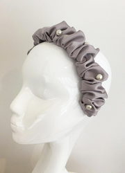 Satin Ruched Headband with Pearl Beading in Mink colour