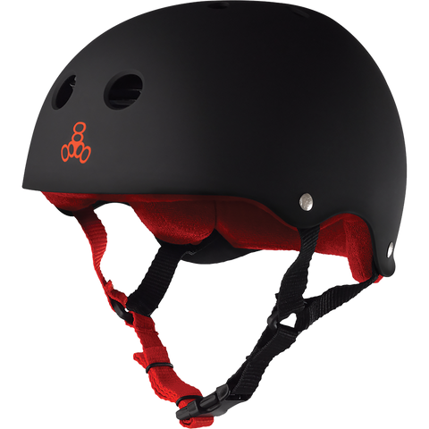 TRIPLE EIGHT HELMET BLK RUBBER/RED