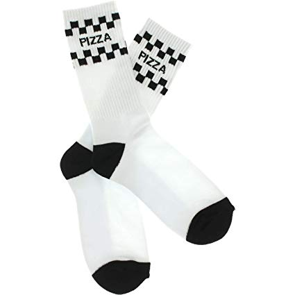 PIZZA CHECK CREW SOCKS WHT/BLK