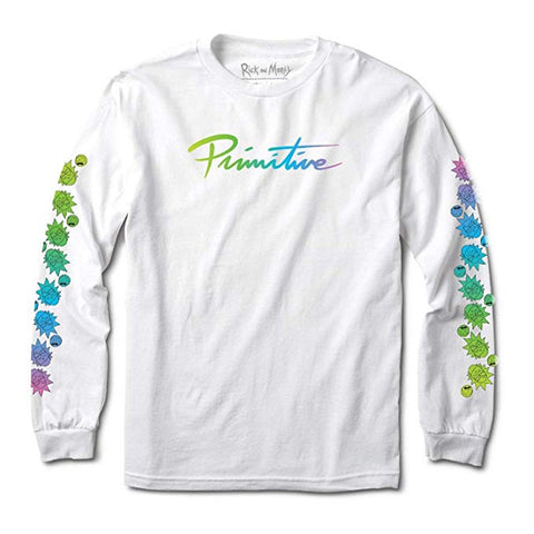 PRIMITIVE - RICK N MORTY - NUEVO GRADIENT WHITE LS TEE -WHITE