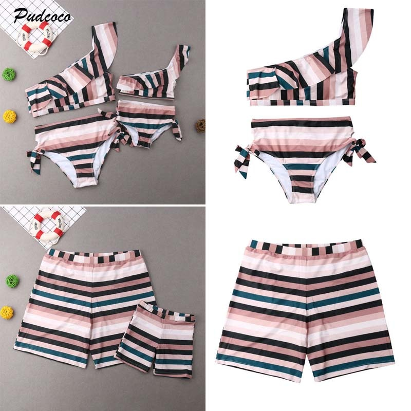 2c46f292ef 2019 Brand Family Matching Swimwear Mother Father Daughter Son Swimsuit  Women Girl Stripe Bikini Sets Men