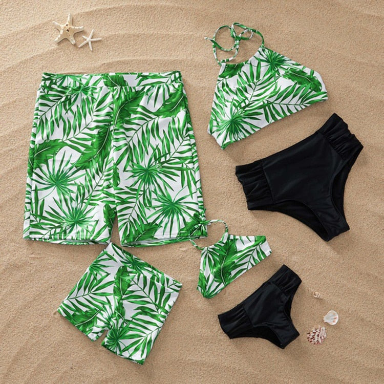 4f4173e6fa Family Matching Outfits Mother Daughter Bikini Swimsuits Father Son  Swimwear Shorts Mommy Dad and Me Clothes