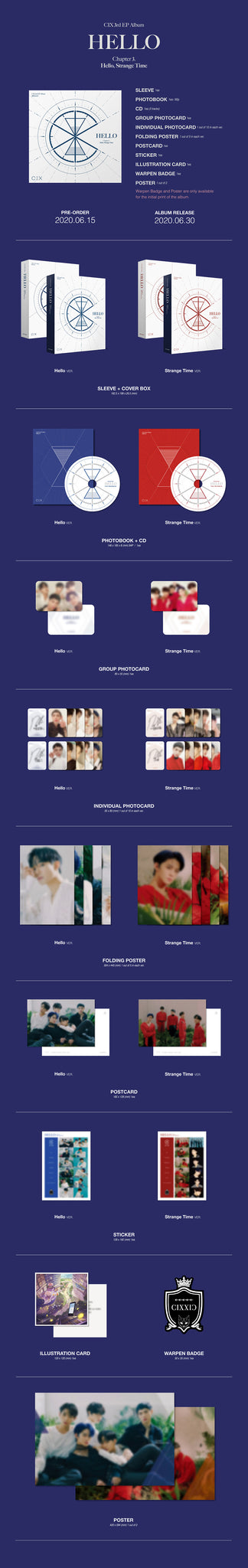 CIX 3rd Mini Album - 'HELLO' Chapter 3 Hello, Strange Time (Strange Time ver.) CD + Poster