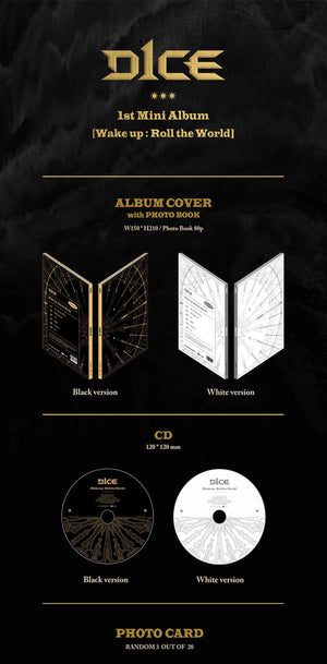D1CE 1st Mini Album - Wake up : Roll the World (Random Ver.) CD + Poster