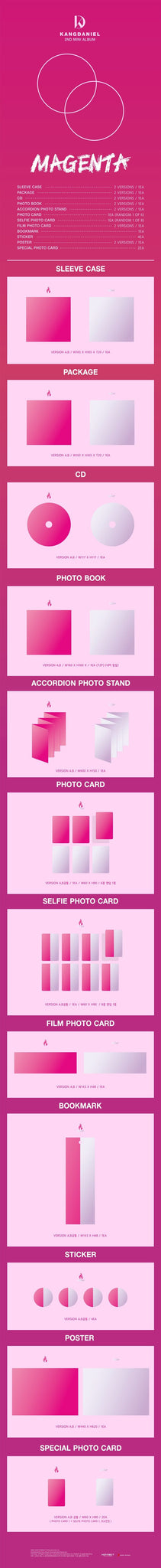 Kang Daniel 2nd Mini Album - MAGENTA (SET Ver.) 2CD + 2Poster