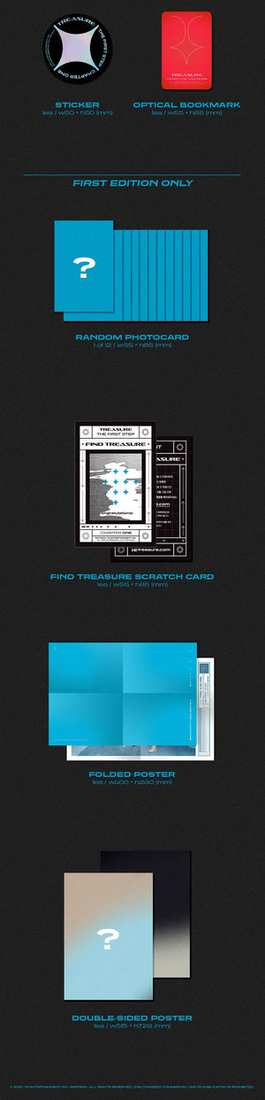 TREASURE 1st Single Album - THE FIRST STEP : CHAPTER ONE (BLACK VER.) CD + Poster