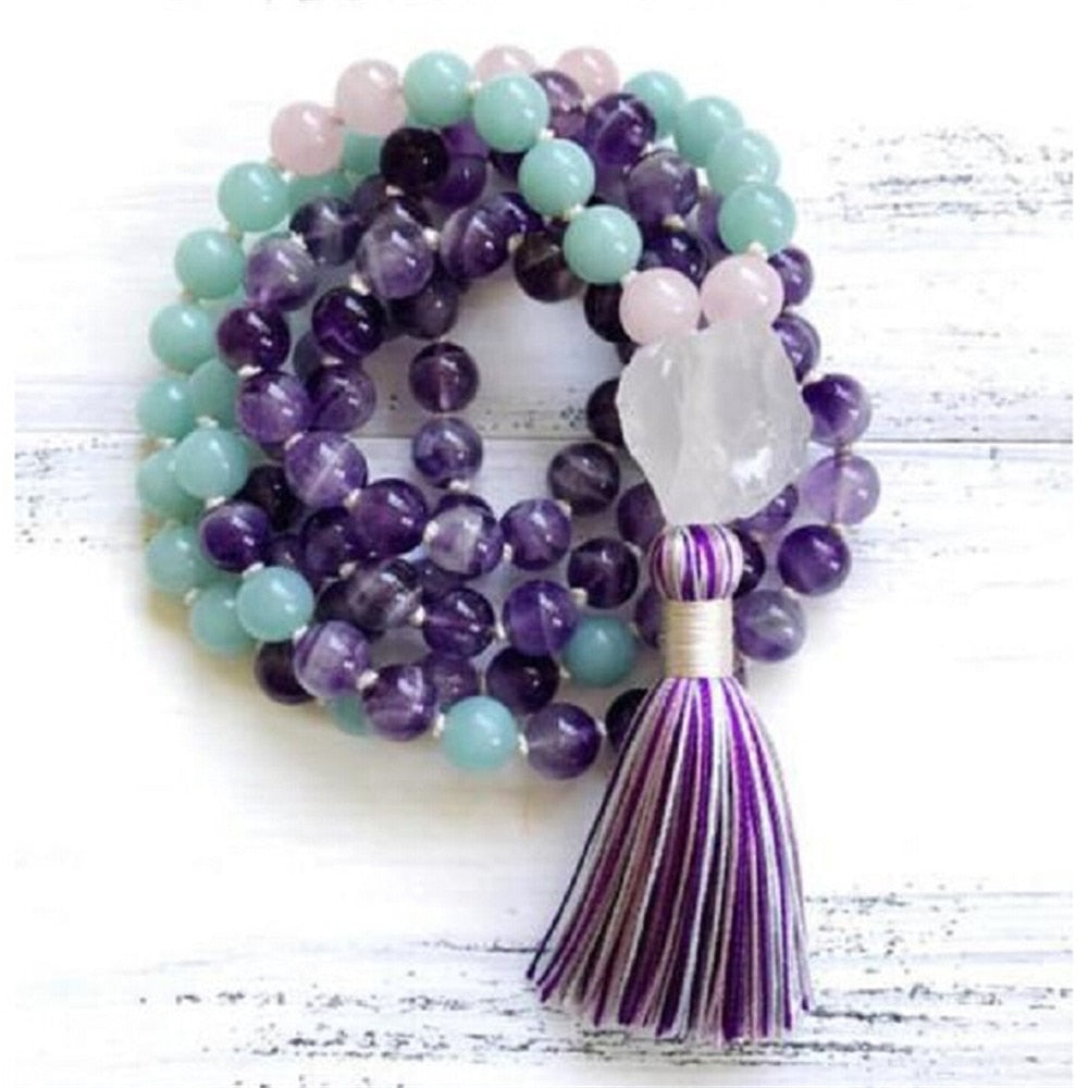 Natural Crystal Mala Necklace