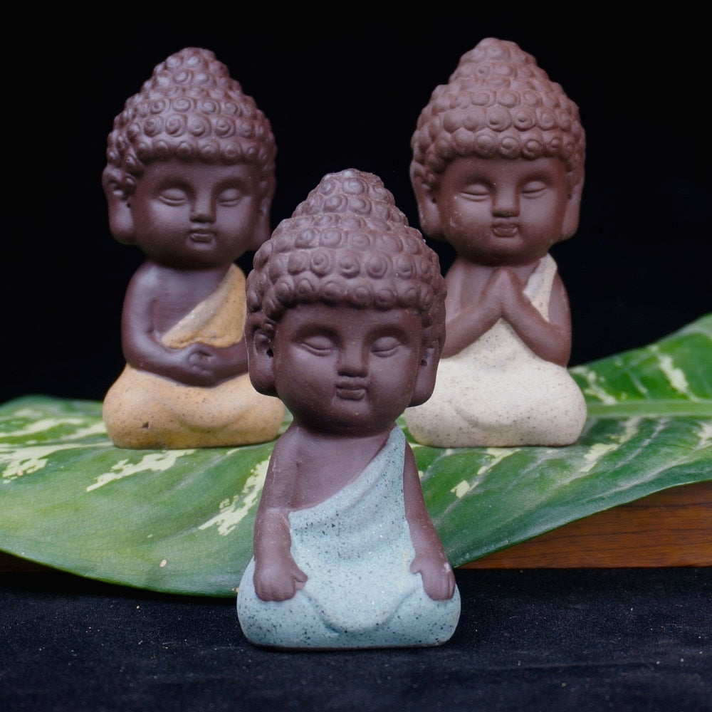 Tiny Buddha Ceramic Figurine